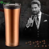 Qian Yi 500ml Thermocup Wind Double Upscal Wall Stainless Steel Coffee Thermos Cup Mugs Thermal Bottle
