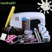 9W Dryer Lamp Tube UV Gel Kit Brush Buffer Toe Seperator Glitter Powder Liquid Tools Nail Tips Glue DIY 2017 o13 Free Shipping