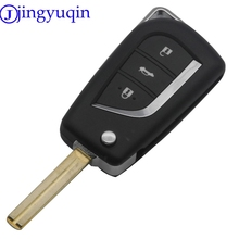jingyuqin 3 Button Remote Flip Car Key Shell Case For Toyota 2014 RAV4 Levin Camry Reiz Highlander Corolla Toy48 Toy43 With Logo