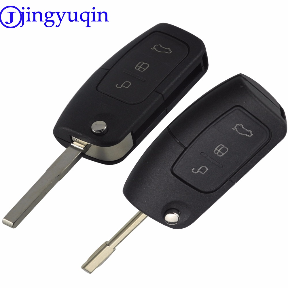 jingyuqin Flip Folding Modified Uncut Car Blank Key Shell Remote Fob Cover Styling Case For Ford Focus Fiesta C Max Ka 3 Buttons цена