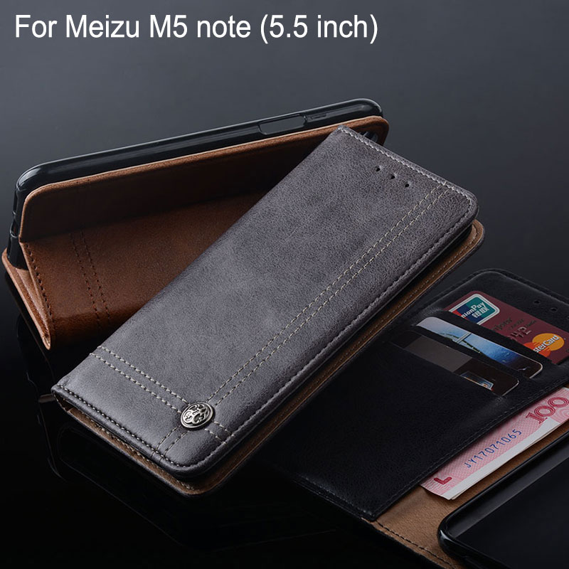 for Meizu m5 note case 5.5 inch Luxury Leather Flip cover Stand Card Slot Vintage Cases for Meizu m5 note funda Without magnet