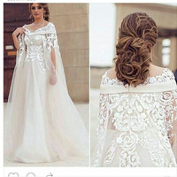 Fashion Scoop Appliqued Beaded Lace Short Sleeve Vestidos De Festa A Line Prom Dresses With Cape