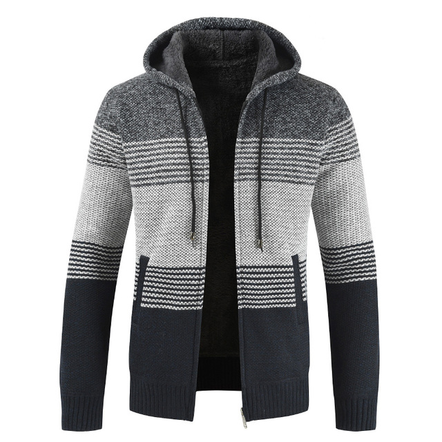 Oufisun Sweater Coat Men 2019 Winter Thick Warm Hooded Cardigan Jumpers  Men Striped Cashmere Wool Liner Zipper Fleece Coats Men 1