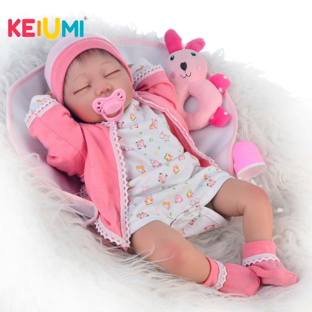 KEIUMI Girls Gifts 22 Inch Toys Cute Reborn Baby Doll Soft Silicone Vinyl For Lifelike Close Eyes Fashion Children Playmates KEIUMI Girls Gifts 22 Inch Toys Cute Reborn Baby Doll Soft Silicone Vinyl For Lifelike Close Eyes Fashion Children Playmates