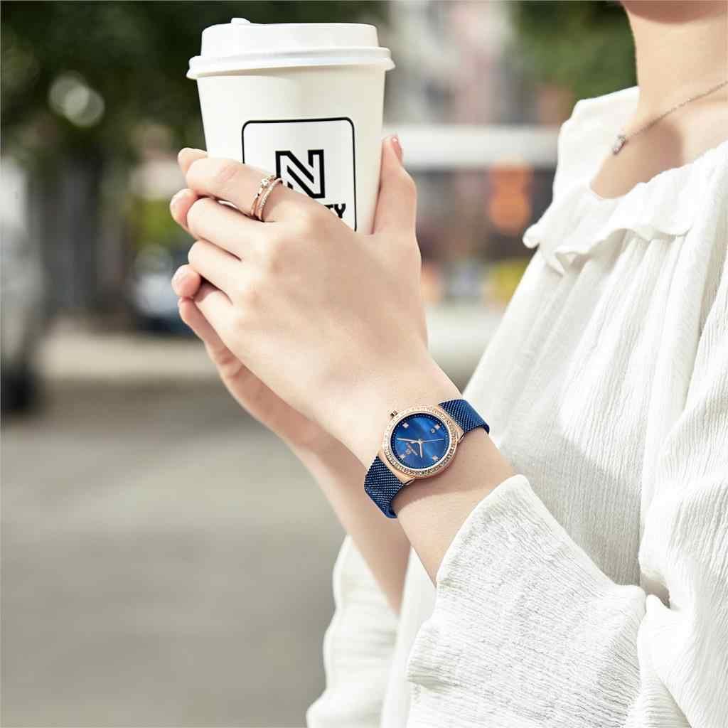 Reloj de cuarzo femenino de marca de moda NAVIFORCE cinturones de malla de acero inoxidable relojes elegantes para Mujer Reloj creativo de lujo Reloj Mujer