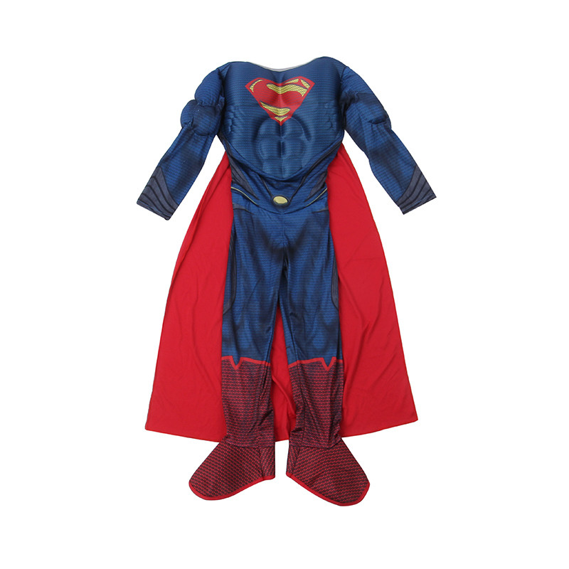 Purim Costumes Gift for Kids Boys Muscle Superman Costume  Cosplay Suits Kids  DC Movie Superhero Jumpsuit with Cape Anime