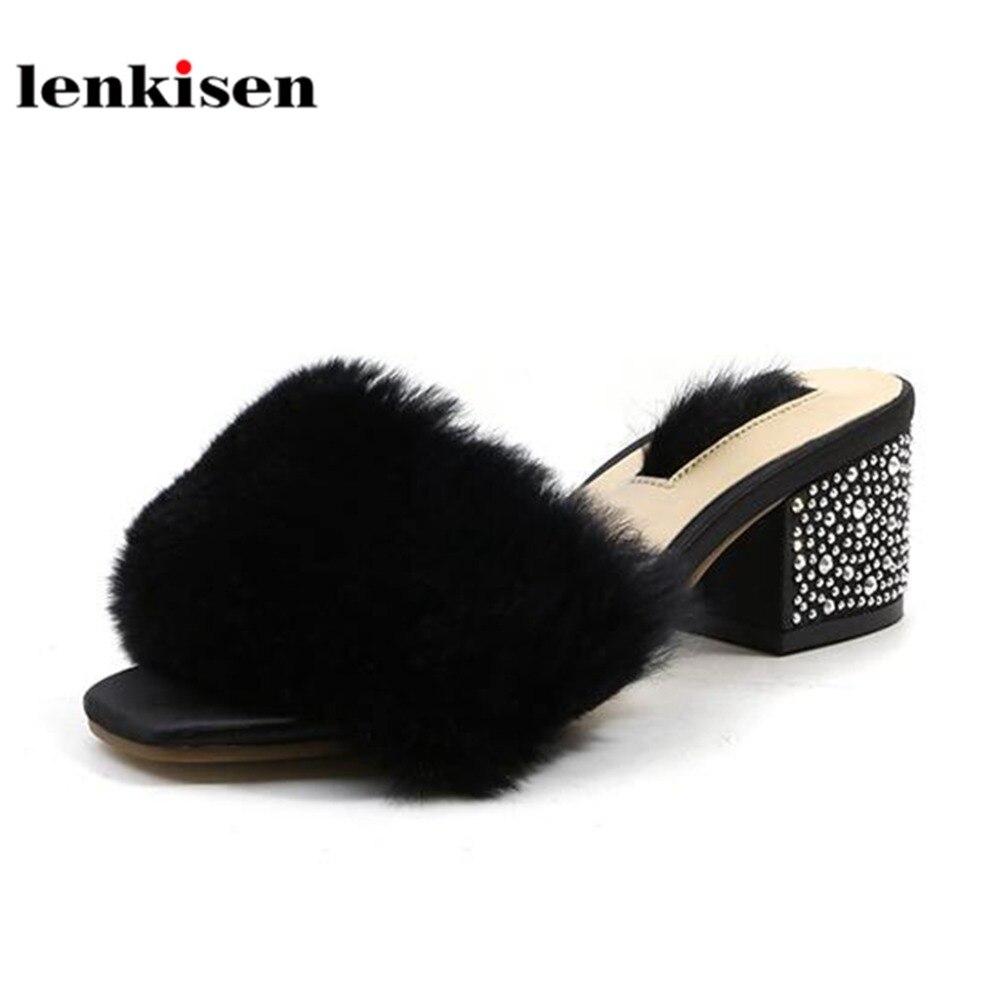 Lenkisen Nouveauté Luxe Cheveux Chaussures L99 Talons De blanc Noir Vente Hauts Femmes Mode Pantoufle Sur kaki Style Solide Glissement À Simple Chaude Casual Lapin L'extérieur r8rRqxnO