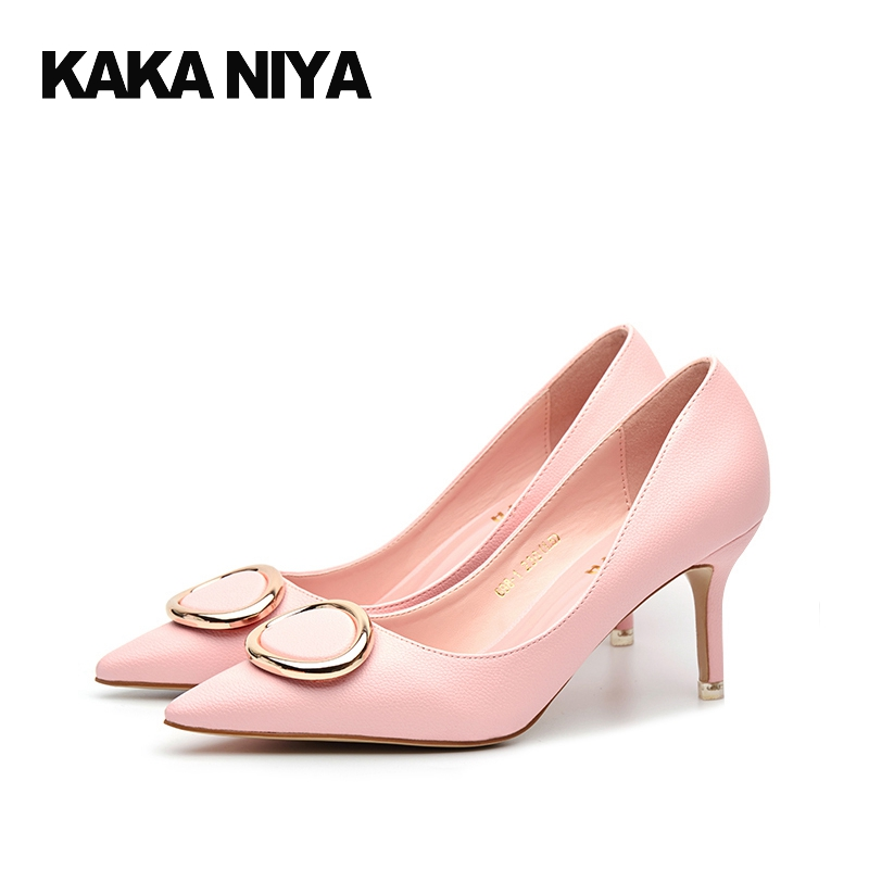 Slip On Pointed Toe 3 Inch Ladies Metal Female Chic High Heels 2017 Size 4 34 Sweet Pink Shoes Women Thin Fashion Chinese Spring new 2017 spring summer women shoes pointed toe high quality brand fashion womens flats ladies plus size 41 sweet flock t179