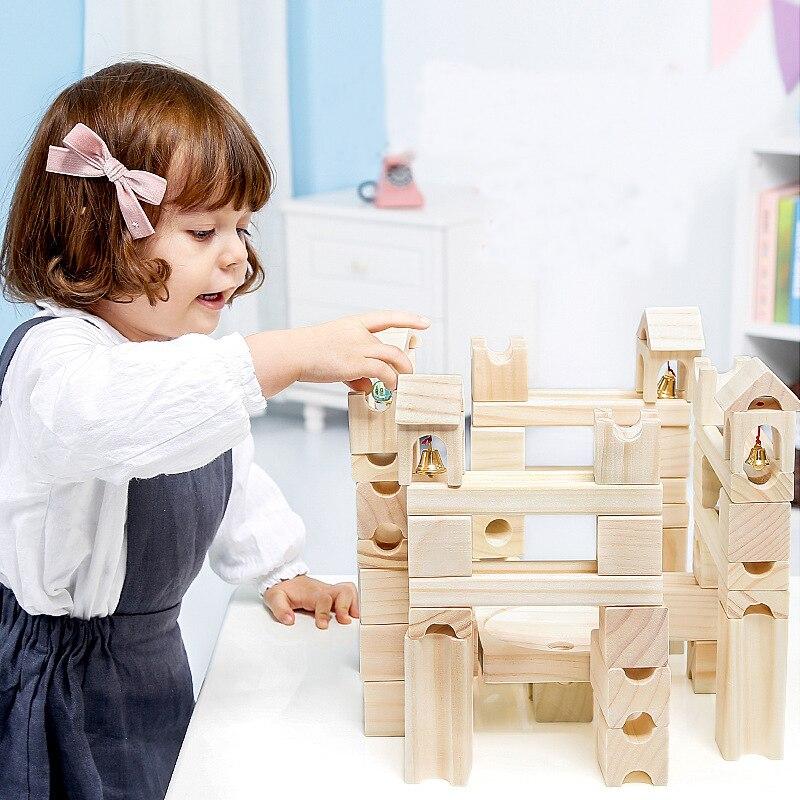 50 pcs Enfants en bois Non Peint marbres blocs de construction ballon pour enfants cube l'évolution blocs Bébé D'apprentissage jouets éducatifs
