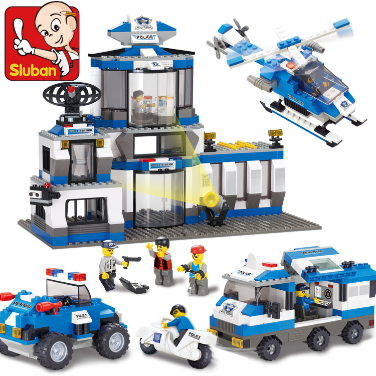 SLUBAN M38-B0193 city SWAT headquarters blocks Police plane and car Building Blocks Toys Kids Brick Toys Christmas Gift city architecture mini street scene view reims cathedral police headquarters library fire departmen building blocks sets toys