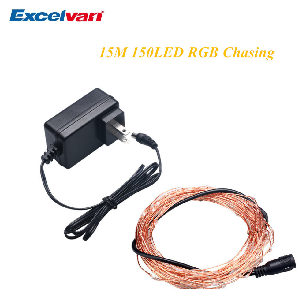 Excelvan 15M 150LED Copper String Lights,Auto Chasing RGB Color ...