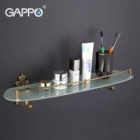GAPPO 1Set Wall Mounted Bathroom Shelves Antiquities Bathroom Glass Shelf Restroom Shelf Hardware Accessories In Two