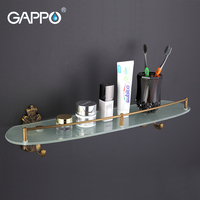GAPPO 1Set Wall Mounted Bathroom Shelves Antiquities Bathroom Glass Shelf Restroom Shelf Hardware Accessories In Two
