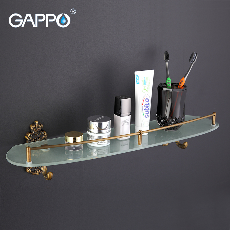 GAPPO 1Set Wall Mounted Bathroom Shelves antiquities Bathroom Glass shelf restroom shelf Hardware Accessories in two hooks G3607 1set glass