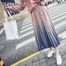 TWOTWINSTYLE Velvet Skirt For Women Print Elastic High Waist Midi Long Pleated Skirts Female 2018 Spring Fashion Clothing