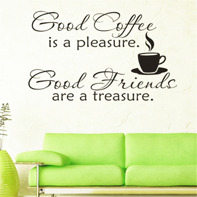 Wall Stickers Good Coffee Cups Kitchen Wall Sticker Quotes Decal Art Cafe  Art Home Mural Wallpaper