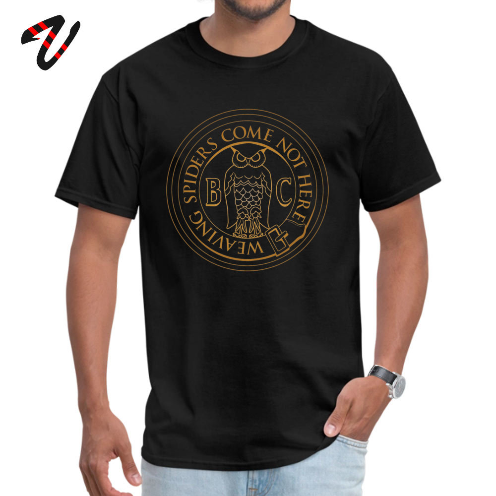 Printed On 100% Cotton Fabric Tops & Tees for Men Normal Top T-shirts Casual High Quality O-Neck T-shirts Short Sleeve Bohemian Grove Owl - Golden -10033 black