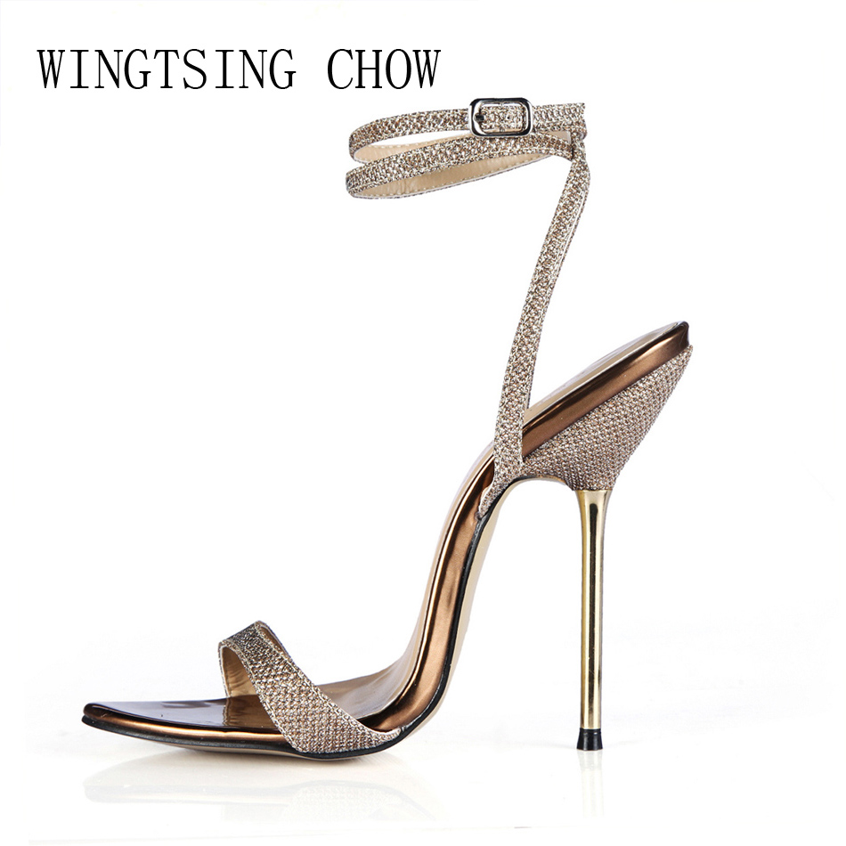 2016 New Silver Sexy Party Shoes Women Stiletto High Metal Heels Ankle Strap Ladies Sandal Plus Sizes 10.5 Zapatos Mujer 3845-i8