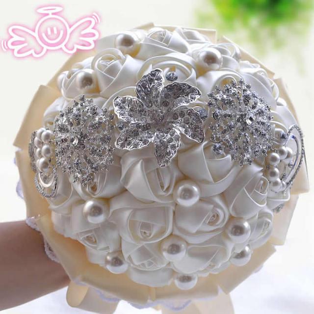 F78 2014 Newest wedding accessories casamento bridal bouquets purple buques de noiva brooch drill crystal pearl wedding bouquets