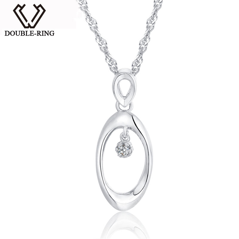 DOUBLE-R Simple Necklace Women 0.03ct Diamond Solid 925 Sterling Silver Oval Pendants Classic Wedding Diamond-Jewelry Gift Box double r women necklace pendants 0 03ct diamond 925 sterling silver pendants with long chains diamond jewelry cap03755sa 1