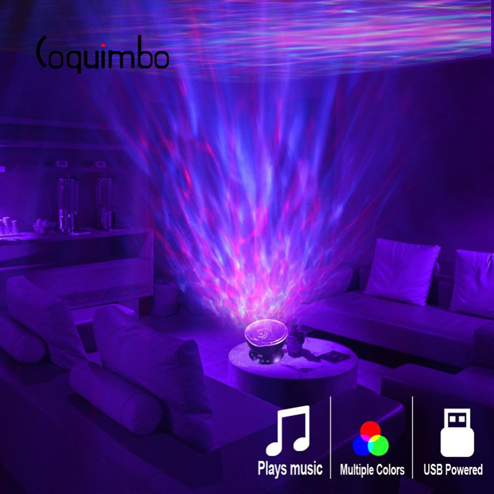 Coquimbo Ocean Wave Projector LED Night Light Built In Music Player Remote Control 7 Light Cosmos Star Luminaria For Kid Bedroom(China)