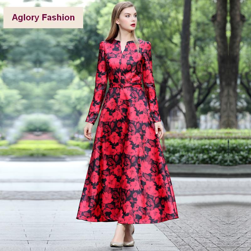 New Designer Brand Fashion 2015 Autumn Winter Women Red Floral Print Long  Sleeve Casual Maxi Dress Female Plus Long Dress 4XL e0d2b78bd