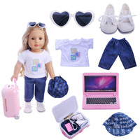 7 Suit Suitable For 18 Inch American Girls Travel Shoes T Shirts Jeans Computers Suitcases Glasses