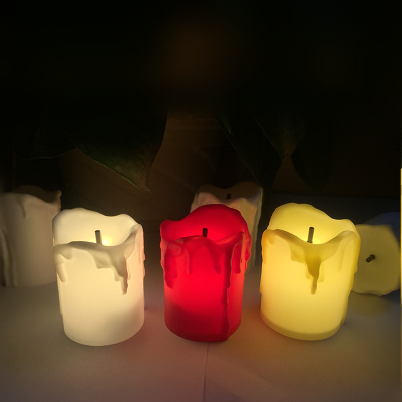 12pcs Christmas Led Candles Light Simulated Flame Flashing Tea Lights Black Wick Easter Holiday Candle Halloween Home Decor Led