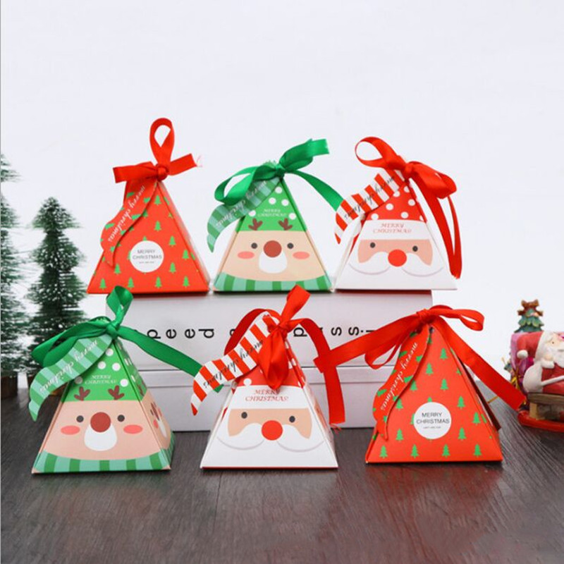 5 PCS/Set Merry Christmas Candy Box Bag Christmas Tree Gift Box With Bells Paper Box Gift Bag Container Supplies Navidad