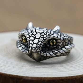 DL 925 Sterling Silver Adder Viper Snake Ring Mens Biker Ring J161 Us Suitable for 8 to 11