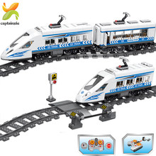 583PCS High-Speed Schienen Zug Transport Bausteine Juguetes Juguetes Stadt Architektur Bau Spielzeug Für Kinder(China)