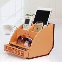Leather craft Remote control storage box/Retro luxury Modeling waterproof Household finishing box
