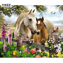 Yikee алмазная живопись Птица Цветок лошадь полная квадратная