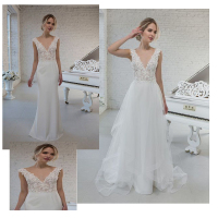 LORIE Boho Wedding Dress 2019 Appliqued Detachable Bottom Bride Dress A Line Backless Beach Bride Dress Wedding Gown Mermaid