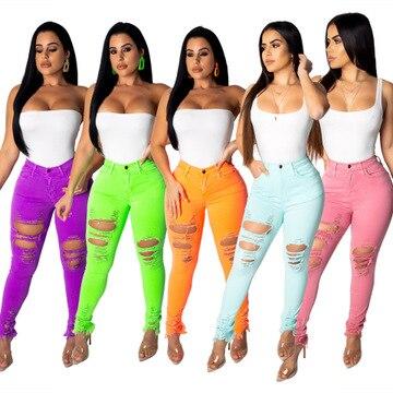 2020 women new high waist hole hollow pants long pencil classic active wear fashion trourser leggings 5 color jeans SJ3262