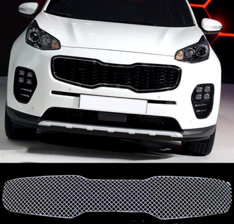 1 piece Stainless Steel Car styling Front Center Grille Grill Cover For Kia Sportage 2016 2017 Car Exterior Accessories