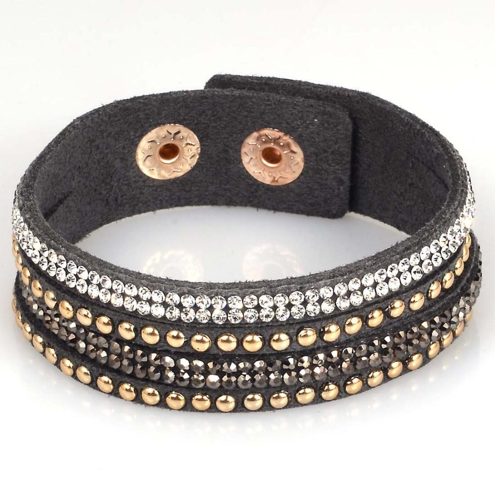 df11d8d64d66e US $0.44 25% OFF|Miasol Rhinestone crystal multilayer wrap bracelets slake  deluxe wrap leather bracelet w/ bilingbling full crystal B1418-in Wrap ...