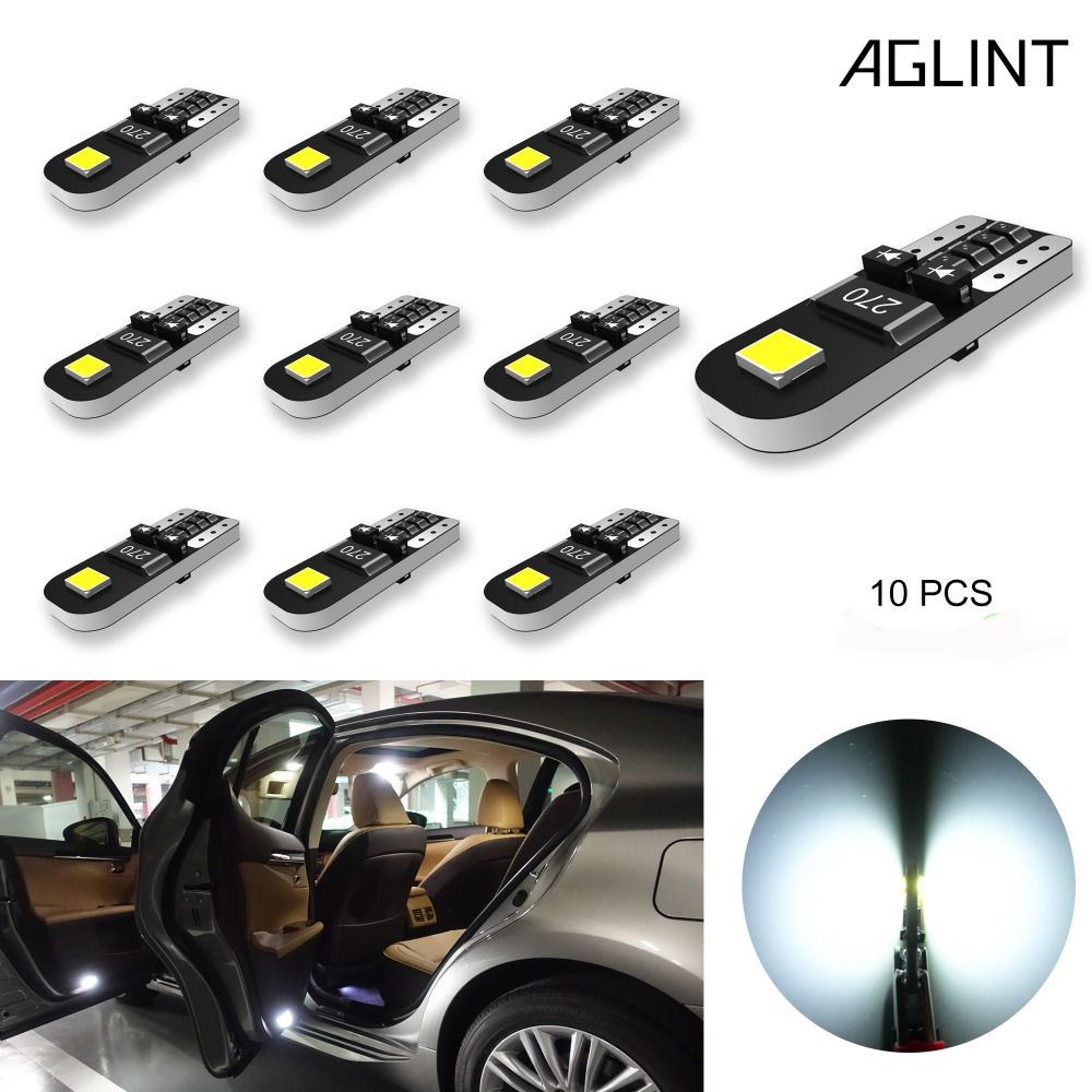 AGLINT 10PCS T10 194 168 <font><b>5W5</b></font> <font><b>LED</b></font> Bulbs <font><b>CANBUS</b></font> No OBC Car Interior Dome Map Side Marker Courtesy Lights White Non-Polarity DC12V image