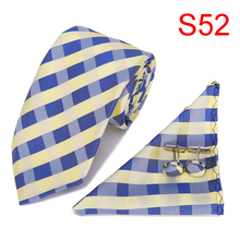 2019 Present For Men Navy Yellow Jacquard Woven Ties Designers Fashion hanky Casual Dress for men