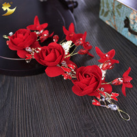 Headdress Manufacturer New Arrival Classic Red Wedding Hair Accessories Luxury Wedding Crowns Bride Headbands Headdress 89373