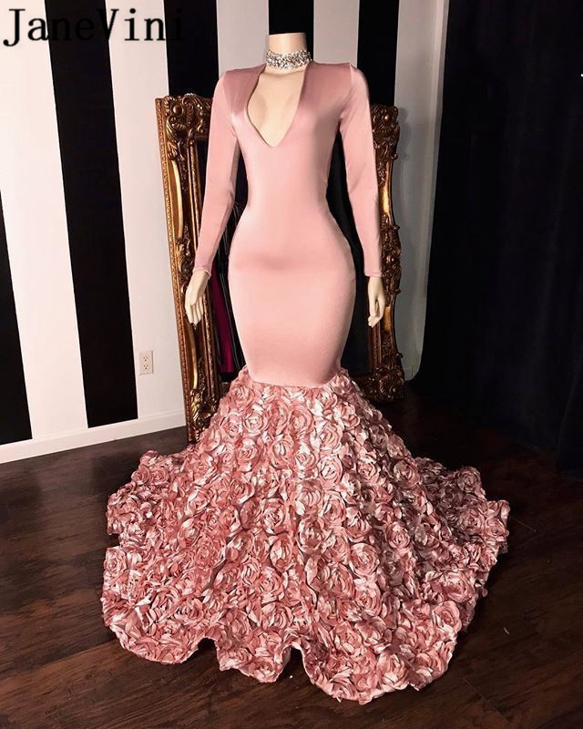JaneVini African Pink Mermaid   Prom     Dress   Long Sleeve Elegant 3D Flowers Train V Neck Floral Black Girls Evening Party Gowns 2019