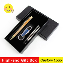 1set Fashion Gold Foil Pen Rotating Metal Ballpoint Advertising Gift With Box Laser Custom LOGO Engraving