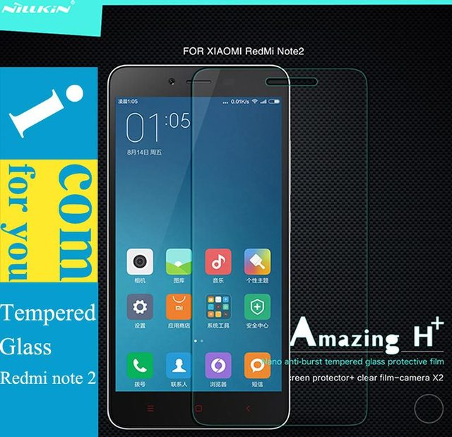 Genuine Nillkin Amazing H+ Tempered Glass Protector film for Xiaomi Redmi Note 2 Red Rice Hongmi Note 2 9H 2.5D Arc round edge