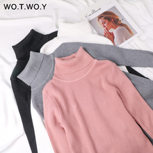 WOTWOY 13 Colors Solid Basic Knitted Sweaters Women 2019 Autumn Winter Long Sleeve Casual Turtleneck Pullover Female Pink Jumper