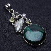 Natural Malachite,Biwa Pearl,Peridot,River Pearl and Green Amethyst 925 Silver Pendant 2 1/4 P0141