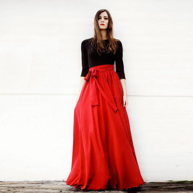 Aliexpress.com : Buy Generous Red Maxi Skirt Band Bow Waistline A ...