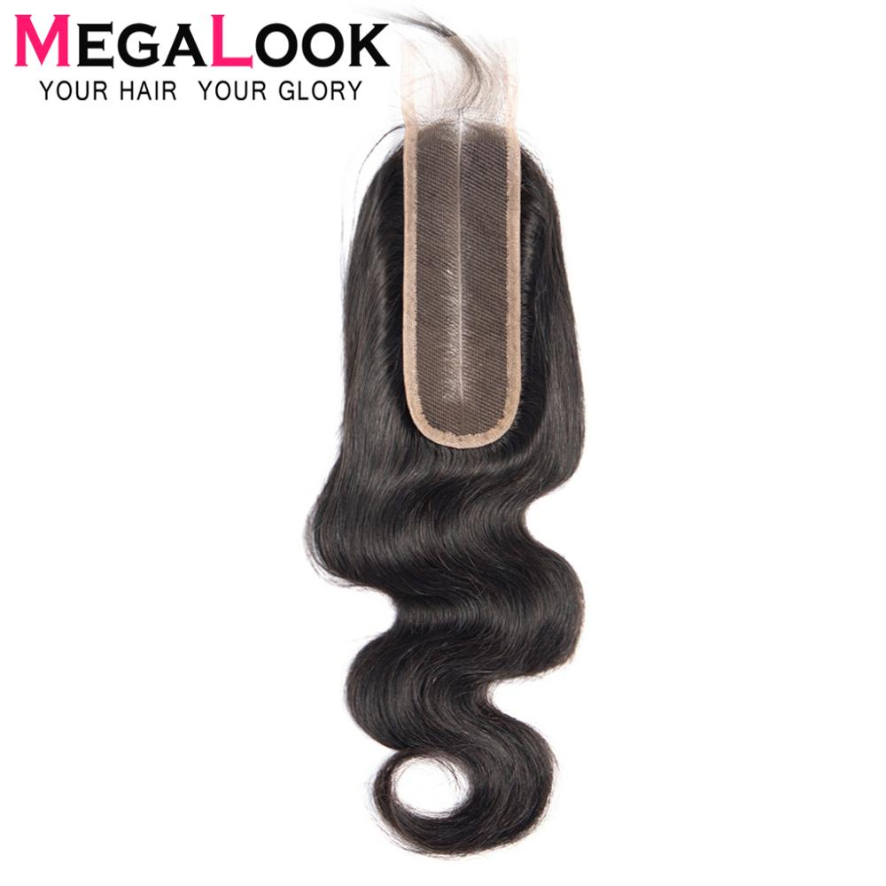 Kim k Closure 2x6 Human Hair Lace Front Closure Peruvian Body Wave Closures Megalook Pre Plucked Bleached Knots Middle Part Remy(China)