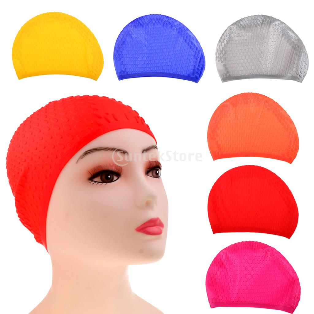 Women Men Children Kids Waterproof Bubble Silicone Swimming Cap Swim Pool Hat Shower Bathing Hair Ear Protection Caps