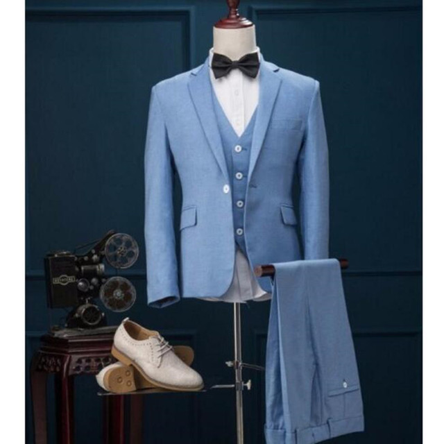 Latest Designs Light Blue Wedding suits tuxedos Prom Party Suits ...