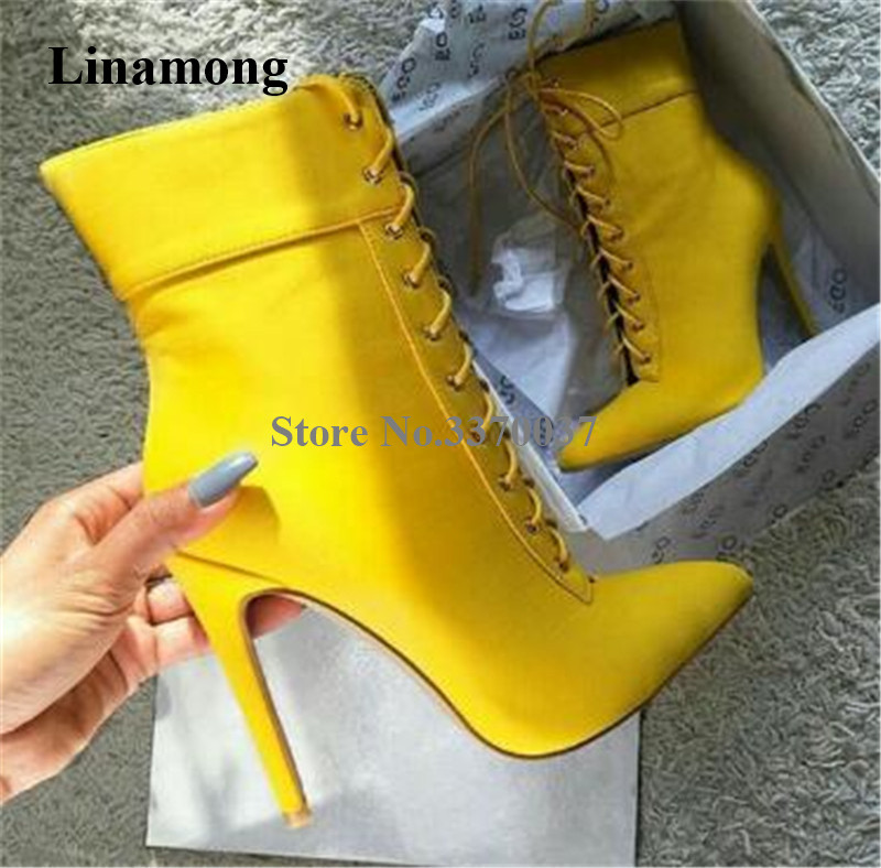 Women Elegant Fashion Pointed Toe Suede Leather Stiletto Heel Short Boots Yellow Lace-up High Heel Ankle Booties Dress Heels